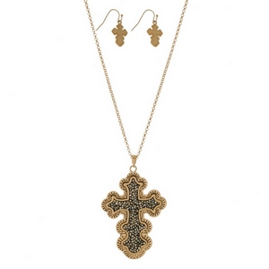 """Burnished metal necklace set with a crushed hematite, cross pendant and matching fishhook earrings. Approximately 32"""" in length."""