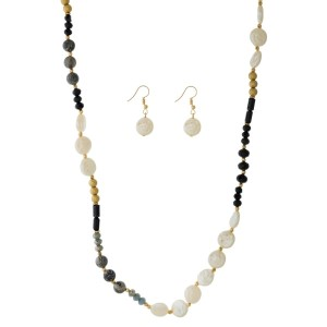 """Full beaded necklace set with gold tone beads, faceted beads and freshwater pearl beads. Approximately 30"""" in length."""