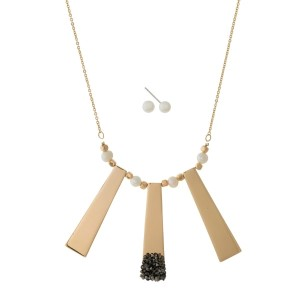 """Dainty necklace set with three metal pendants, pearl beads and hematite accents. Approximately 18"""" in length."""
