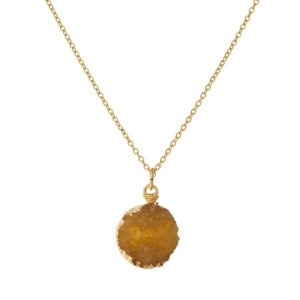 "Dainty, gold tone necklace with a circle shaped, faux druzy pendant. Approximately 16"" in length."