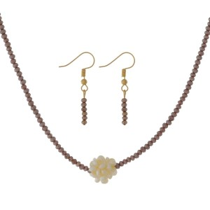 """Full beaded necklace set with a pearl bead cluster and matching fishhook earrings. Approximately 16"""" in length."""
