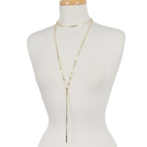 """Dainty, metal, two layer Y necklace with a choker layer and circle link chain. Approximately 14"""" and 30"""" in length."""