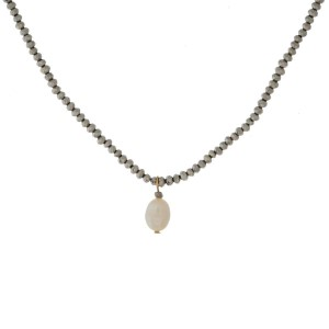 """Full beaded necklace with freshwater pearl bead pendant. Approximately 16"""" in length."""