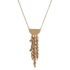 """Dainty, metal necklace with a half circle shape and chain fringe. Approximately 28"""" in length."""
