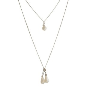 """Dainty, two layer necklace with pearl beaded pendants. Approximately 14"""" and 24"""" in length."""