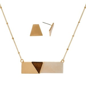 """Dainty metal necklace set with a wooden and acetate bar pendant and matching stud earrings. Approximately 16"""" in length."""