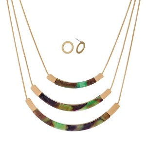"""Short, three layer necklace set with curved acetate bars and matching stud earrings. Approximately 14"""" to 16"""" in length."""