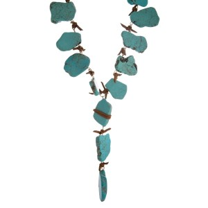 """Faux suede Y necklace with natural stone nuggets. Approximately 27"""" in length."""