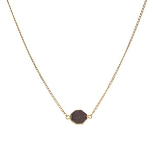 """Dainty, gold tone necklace with druzy pendant. Approximately 16"""" in length."""