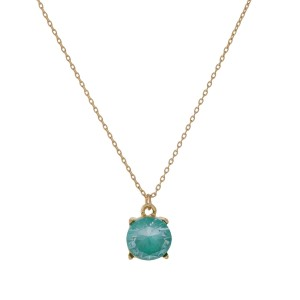 """Dainty, gold tone necklace with a CZ rhinestone pendant. Approximately 16"""" in length."""