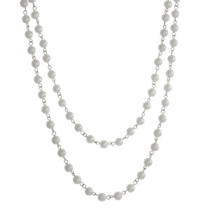 "Long, 60"" pearl beaded wrap necklace."