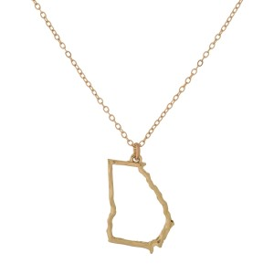 """Dainty, metal necklace with a hammered state outline. Approximately 16"""" in length."""