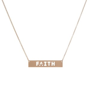 """Dainty necklace with a bar pendant and encouraging message cutout. Approximately 16"""" in length."""