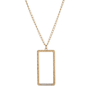 "Long, metal, necklace with a rectangle pendant, matte finish. Approximately 24"" in length."