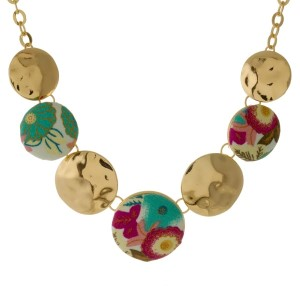 """Short, gold tone necklace with circle pendants covered fabric. Approximately 16"""" in length."""