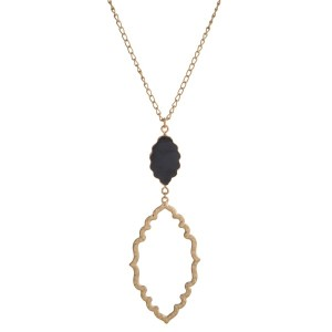 "Gold tone necklace with natural stone and Moroccan shaped pendant. Approximately 32"" in length."