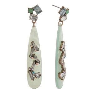 """Statement, post style earring with long acetate teardrop shape and rhinestone detail. Approximately 3"""" in length."""