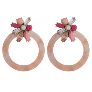 """Statement, post style earring with acetate circle and rhinestone detail. Approximately 2.5"""" in length."""
