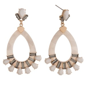 """Statement, post style earring with acetate teardrop and rhinestone detail. Approximately 2.5"""" in length."""