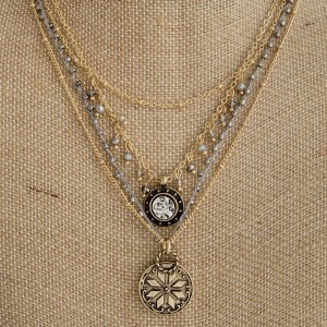 """Layered necklace with boho charms. Approximately 18""""-22"""" in length."""