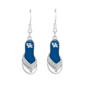 1.25 inch licensed silver toned flip-flop earrings with Kentcuky logo