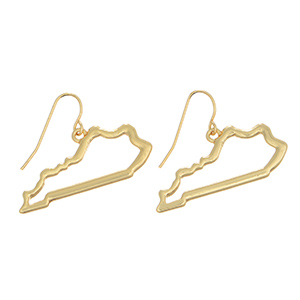 "Gold tone fishhook earrings featuring the state of Kentucky cutout. Approximately 1/2"" in length."