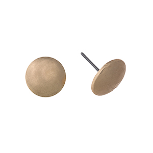 "Matte gold tone post style earring displaying a sphere. Approximately 3/8"" in length."