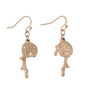 "Matte gold tone fishhook earrings displaying a dangling coral reef and a sand dollar. Approximately 1"" in length."
