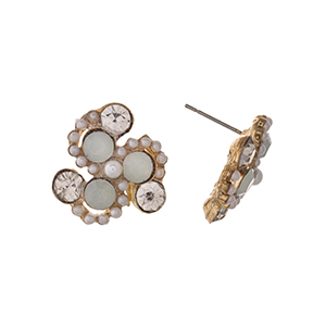 """Gold tone post style earrings displaying white and clear round rhinestones with faux pearl accents. Approximately 3/4"""" in length."""