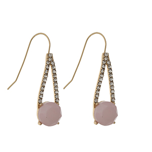 "Gold tone fishhook earrings displaying a pave casting with a round pink stone. Approximately 1 1/8"" in length."