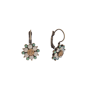 "Burnished gold tone flower earrings with mint, white opal, and champagne rhinestones. Approximately 1"" in length."
