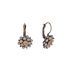 """Burnished gold tone flower earrings with pink, white opal, and peach rhinestones. Approximately 1"""" in length."""