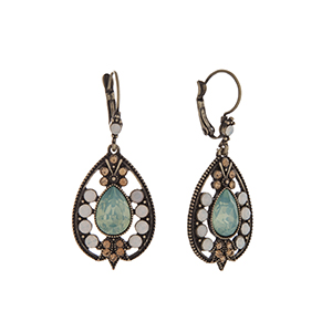 "Burnished gold tone teardrop shape earrings with mint, champagne, and white opal rhinestone accents. Approximately 1 3/4"" in length."
