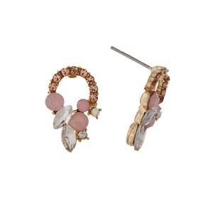 "Gold tone stud earrings with topaz and pink opal rhinestones. Approximately 1/2"" in length."