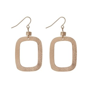 """Gold tone fishhook earrings displaying an open rectangle shape. Approximately 2"""" in length."""
