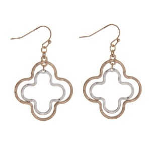 """Gold tone fishhook earrings with a two tone quatrefoil shape. Approximately 1.5"""" in length."""