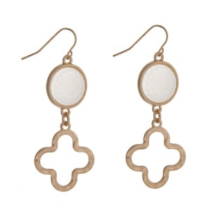 """Gold tone fishhook earrings with a beige stone and a quatrefoil cutout. Approximately 2"""" in length."""