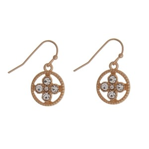 """Dainty gold tone fishhook earrings with a clear rhinestone circle. Approximately 1/2"""" in length."""