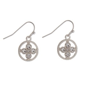 """Dainty silver tone fishhook earrings with a clear rhinestone circle. Approximately 1/2"""" in length."""