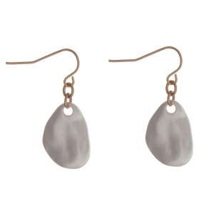 """Two tone fishhook earrings with a hammered teardrop shape and a matte finish. Approximately 1"""" in length."""