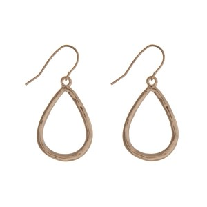 """Hammered gold tone fishhook earrings with a dainty teardrop. Approximately 1"""" in length."""