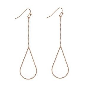 """Delicate gold tone earrings with a teardrop shape. Approximately 3"""" in length."""