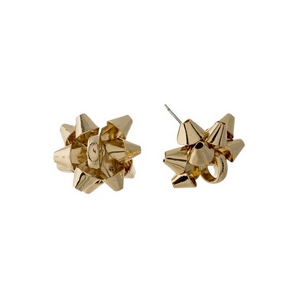"Gold tone bow stud earrings. Approximately 1"" in length."