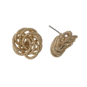 "Gold tone knot, stud earrings. Approximately 1"" in length."