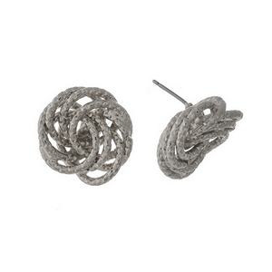"Silver tone knot, stud earrings. Approximately 1"" in length."