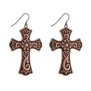 """Copper tone cross earrings. Approximately 1.75"""" in length."""