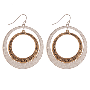 "Hammered, two tone, interlocking circle earrings. Approximately 2"" in length."