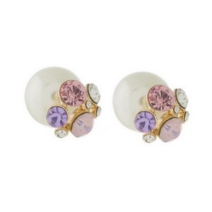 "Double sided pearl earrings with pale pink rhinestones. Approximately 1/2"" in width."
