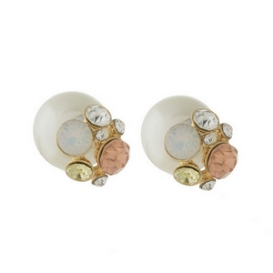 "Double sided pearl earrings with peach rhinestones. Approximately 1/2"" in width."