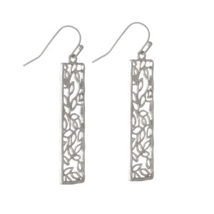 "Silver tone fishhook earrings with a filigree rectangle. Approximately 2"" in length."